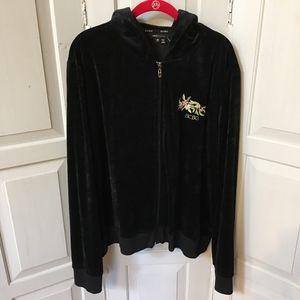 BCBGMaxAzria Black Velvet Embellished Hoodie
